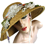 Vintage Wide Brim Straw Hat with Flowers and Seed Pearl Ear Corn