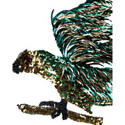 NOS Large Bead and Sequin Hawk Bird Applique 1920s Flapper ~ Green and Gold