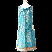 Vintage 1920s Metallic Gold Lame Turquoise Burnout Velvet Pleated Flapper Dress