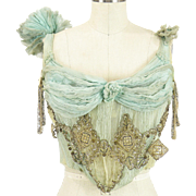 Antique Victorian or Early Edwardian Pale Green Silk Chiffon Evening Bodice for Study ~ Ornamental Embroidery, Bullion, Beadwork and Sequins