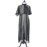 Antique Calico Dress, 1800s 1900s Cotton Print Day Dress, Victorian Edwardian Dress