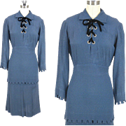 Vintage 1930s Blue Matelassé Peplum Dress with Jeweled Grommet Tie Bodice