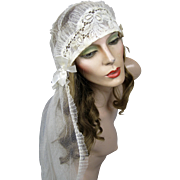Antique 20s Flapper Wedding Headpiece Veil Art Deco Juliet Cap Cloche