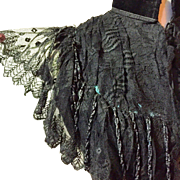 Antique Black Embroidered Net Lace Victorian Mantelet Bodice with Beadwork, A A Berry New York