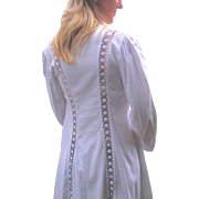 White Edwardian Jacket, 1910s Cotton Linen & Lace Antique Walking Jacket Duster Coat