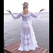 Antique Edwardian White Cotton & Lace Dress, 1910s Bohemian Wedding Dress, 2pc Tiered Skirt & Angel Sleeve Blouse