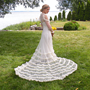 Vintage 1930s Ruffled Net Lace Wedding Dress with Train, 2pc 30s Bridal Gown Set