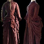 Antique Bustle Dress Victorian Promenade Gown circa 1880s Silk