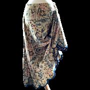 Antique Ladies Floral Cotton Prairie Skirt ~ Cabbage Roses, Turqoise, Pink