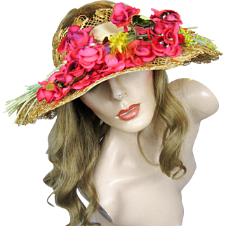 Vintage 1920s 30s Delicate Open Crown Lacy Straw Ladies Hat Wide Brim and Flowers