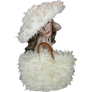 Outrageous 1950s Vintage Wide Brim White Feather Hat and Matching Purse with original Hat Box