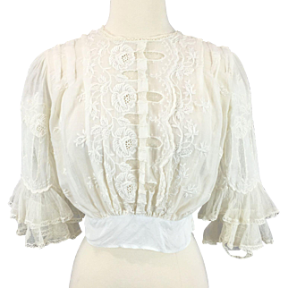 Antique Edwardian Embroidered Cotton and Net Lace Blouse with Tiered Lace Sleeves, 1910s Top, Downton Abbey