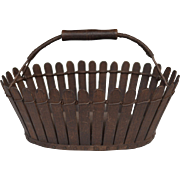 """Shaker Slatted Wood """"Picket Fence"""" Basket"""