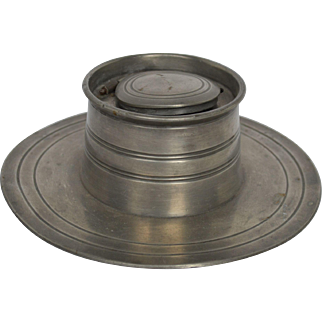 19th Century Pewter Inkwell