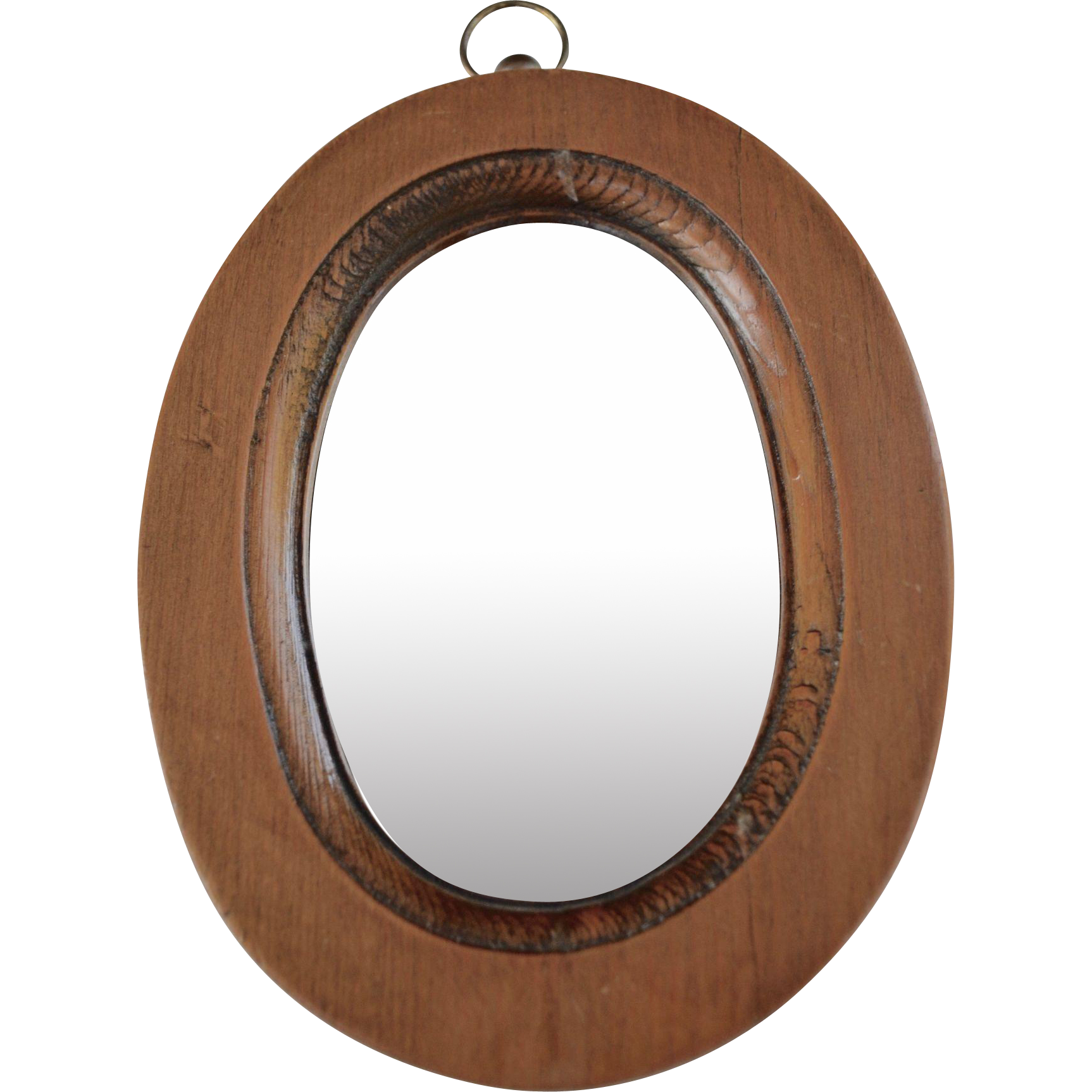 Early american small hanging mirror brown brown for Small hanging mirror