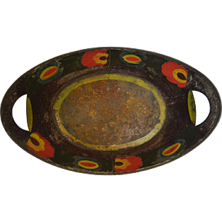 19th Century American Tole Apple Tray - Hand Painted and Crystallized Interior