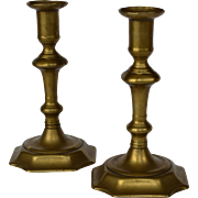Antique English Queen Anne Brass Candlesticks