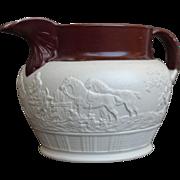 Circa 1800 English Stoneware Sprig Molded Hunting Jug