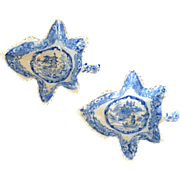 Pair of English Pearlware Blue and White Leaf Shaped Pickle Dishes