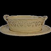 English Creamware Basket with Undertray
