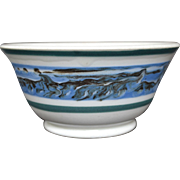 English Mochaware Earthworm Pattern Bowl