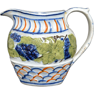 English Prattware Molded Pitcher circa early 19th Century