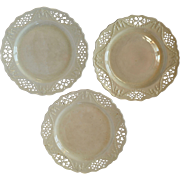 Set of 3 - 18th Creamware Plates - Marked Leeds Pottery