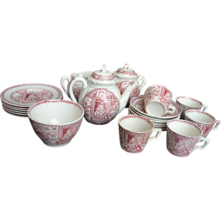 Staffordshire Complete Child's Tea Set for 6