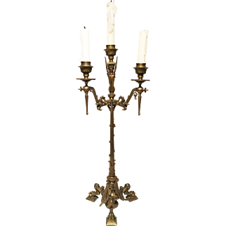 19C French Empire Bronze Candelabrum
