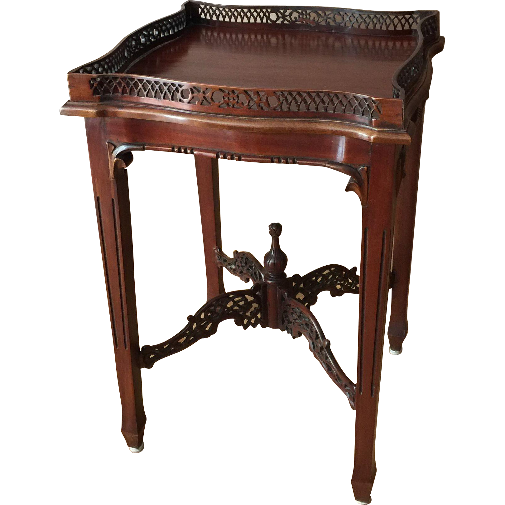 Antique Mahogany Chinese Chippendale Silver Table