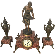 Art Nouveau Rouge marble and dore bronze clock