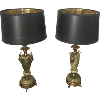 Pair of Onyx & Brass Antique Lamps