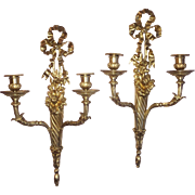 French 19th century Louis XVI style gilt-bronze two arm sconces