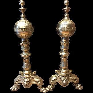 Georgian style brass andirons
