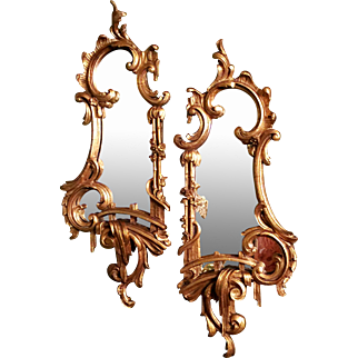 A pair of mid-18th C  style giltwood mirrors.