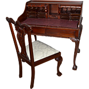Chippendale Style Mahogany Secretary Desk and Chair