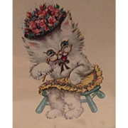 Sweet Animated Granny Kitty Cat Framed Picture 1940's Unsigned