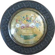 Fine Georgian Intricately Carved Wooden Snuff Box with Enameled Gilt Metal Floral Lid - Circa 1800