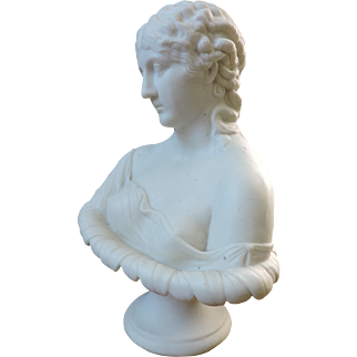 1870's English Parian Porcelain Bust of Clytie by Robert Cooke
