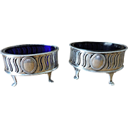 PAIR of Cobalt Lined, Silver Plated Open Master Salts - Late Georgian, Early Victorian
