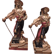 1920's Armor Bronze Pirate Buccaneer Bookends - Polychromed