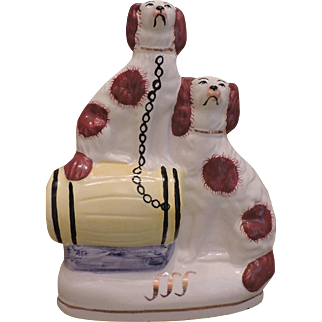 19th Century Staffordshire Porcelain Red and White Spaniels