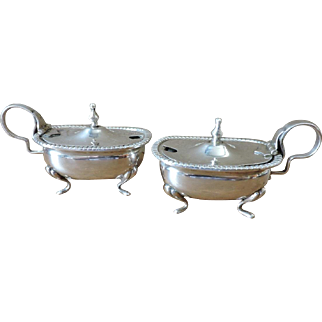 Beautiful Pair of Bonifazi Donatello di giuseppe Silver Covered Salt Cellars Made in Firenze Italy