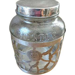 Mid Century Sterling Silver Overlay Nestle Cocoa Jar