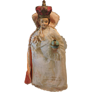 Beautiful L'Enfant Prague - Infant of Prague - Antique Chalkware Statue with original Handmade Clothes - French, Circa 1900