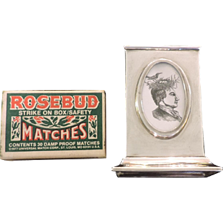 1902 Sterling Silver Matchbox Holder with Picture Frame - William Neale, Chester England