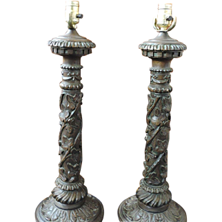 Extremely Rare Monumental Sized Pair of Paul Hanson Lamps - Hollywood Regency Style