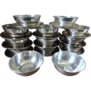 United States Navy Silver Plated Bowls and Saucers