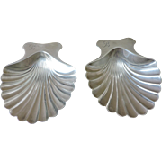 PAIR Tiffany and Co Shell Dish Nut Cup Sterling Silver - 1940's