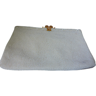 Vintage mid 1950's WALBORG white beaded evening bag or clutch with unusual opening